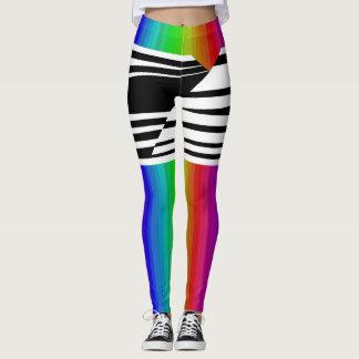 Bares horizontais da transmissão do arco-íris da legging