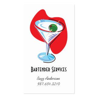 Barman Martini Glass_red Cartões De Visita