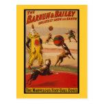 Barnum & cães do futebol do circo de Bailey Cartão Postal