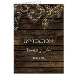 Barnwood, convites de casamento rústicos do cartão comemorativo