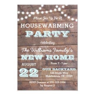 Barnwood ilumina convites do Housewarming do Aqua