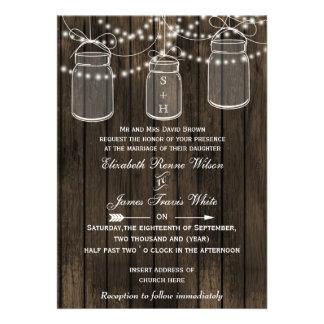Barnwood rústico, convites de casamento do frasco