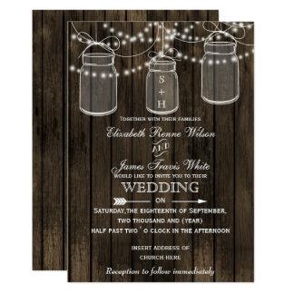 Barnwood rústico, convites do casamento do frasco