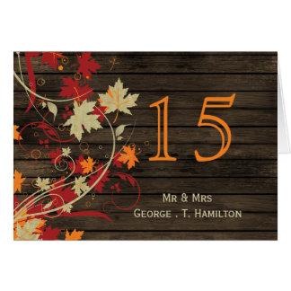 Barnwood rústico números da mesa do casamento cartoes