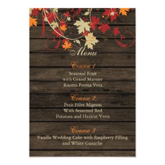 Barnwood rústico, queda deixa cartões do menu do convite 12.7 x 17.78cm