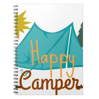 Barraca do campista feliz fora caderno espiral