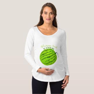 Barriga engraçada da melancia camiseta para gestantes