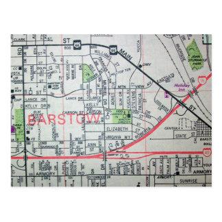 BARSTOW, cartão do mapa do vintage de CA
