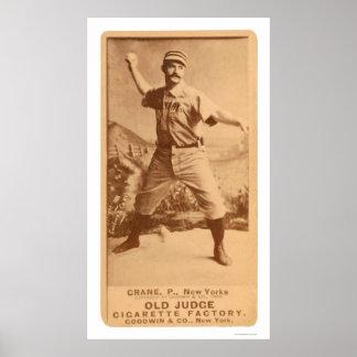 Basebol 1887 do guindaste da bala de canhão poster