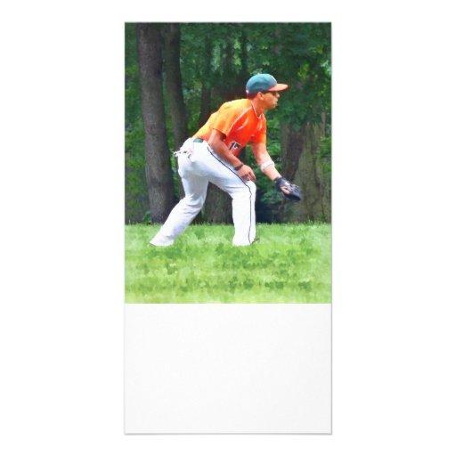 Basebol - aquecendo antes do jogo cartoes com foto