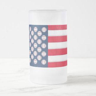 Basebol & caneca gelado da bandeira americana