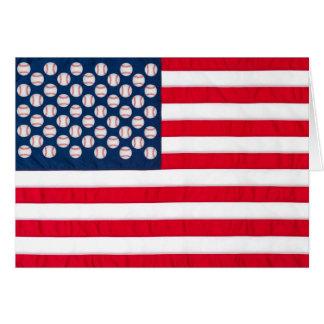 Basebol & cartão da bandeira americana
