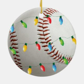 Basebol com o ornamento do feriado das luzes