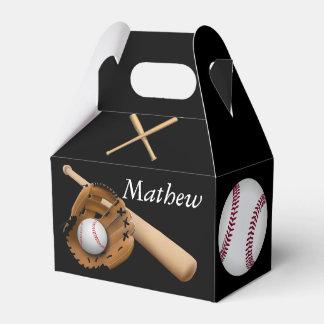 Basebol desportivo, bastões e luva com monograma caixinha de lembrancinhas