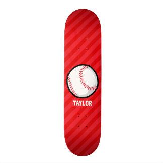 Basebol; Escarlate das listras do vermelho Shape De Skate 20,6cm