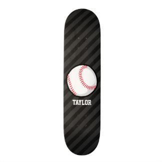 Basebol; Preto e obscuridade - listras cinzentas Shape De Skate 18,1cm