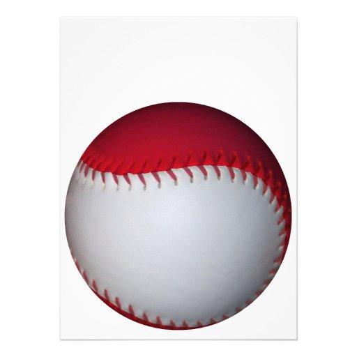 Basebol/softball brancos e vermelhos convites