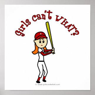 Basebol vermelho claro das meninas pôsteres