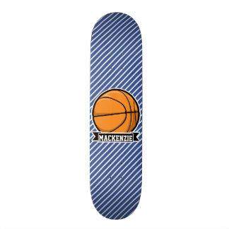 Basquetebol em listras azuis & brancas shape de skate 18,4cm