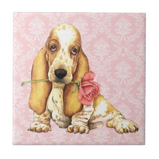 Basset cor-de-rosa dos namorados