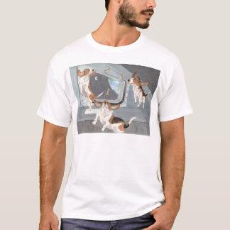 Bassets na camisa do vaivém espacial
