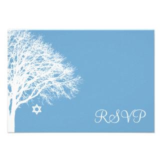 Bastão branco azul Mitzvah RSVP do carvalho do Convites Personalizado
