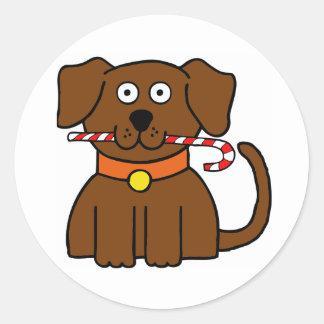 Bastão de doces do filhote de cachorro adesivo