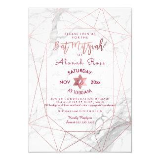 Bastão de mármore branco Mitzvah/ouro cor-de-rosa Convite 12.7 X 17.78cm