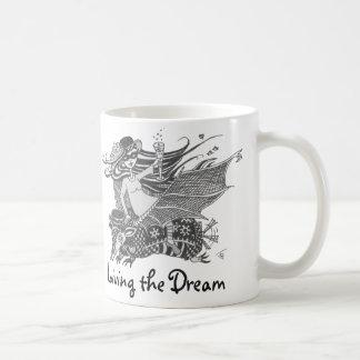 Bastão do tatu, branco, vivendo o sonho caneca de café