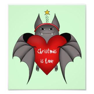 Bastão gótico Amorous do Natal com coração vermelh Impressão De Foto
