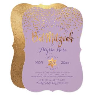 Bastão Mitzvah de PixDezines/confetes ouro do Convite 12.7 X 17.78cm