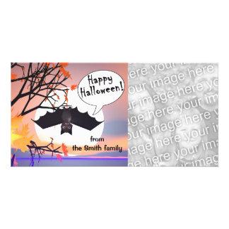 Bastão na árvore o Dia das Bruxas feliz Cartão Com Foto Personalizado