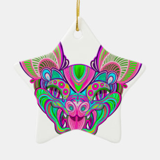 Bastão psicadélico do arco-íris ornamento de cerâmica