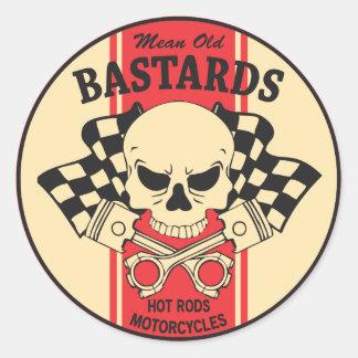Bastardos velhos médios adesivo redondo