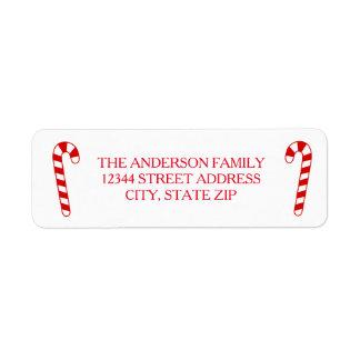 Bastões de doces - etiqueta de endereço