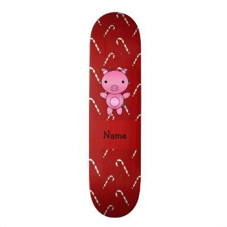 Bastões de doces vermelhos personalizados do porco skate