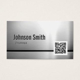 Baterista - código de aço inoxidável de QR Cartão De Visitas
