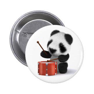 baterista da panda do bebê 3d bóton redondo 5.08cm