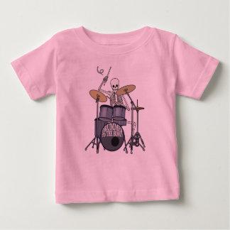 Baterista de esqueleto camiseta para bebê