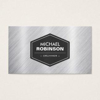 Baterista - olhar metálico de prata cartão de visitas