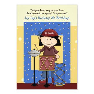 Baterista pequeno - convite de aniversário