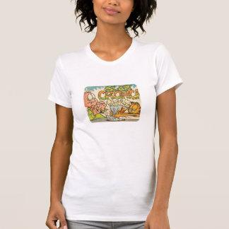 Batida de Garfield, a camisa das mulheres Camisetas