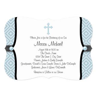 Batismo azul do azul do preto da cruz da pérola convite 12.7 x 17.78cm