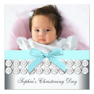 Batismo azul do bebé da foto da cerceta convite quadrado 13.35 x 13.35cm