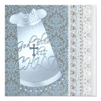 Batismo azul do bebé do damasco de Brown do Convite Quadrado 13.35 X 13.35cm