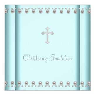 Batismo azul do bebé ou da menina da cruz da convite quadrado 13.35 x 13.35cm