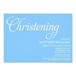 Batismo azul doce do roteiro convite 12.7 x 17.78cm