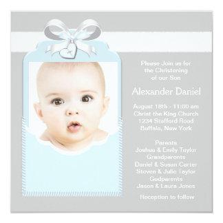 Batismo azul e cinzento da foto do bebé convite quadrado 13.35 x 13.35cm