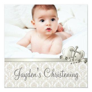 Batismo bege elegante da foto dos meninos do convite quadrado 13.35 x 13.35cm