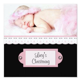 Batismo branco cor-de-rosa da foto da menina do convite quadrado 13.35 x 13.35cm